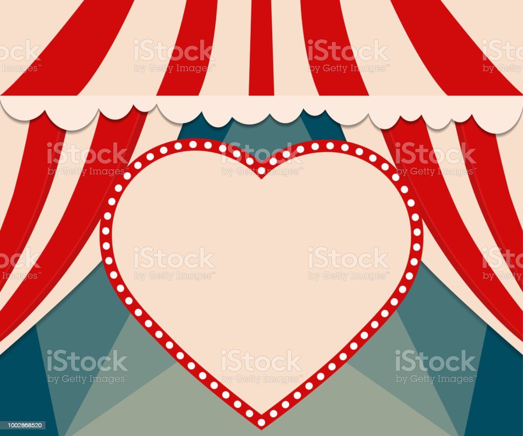 Poster Template With Retro Heart Circus Banner Design For