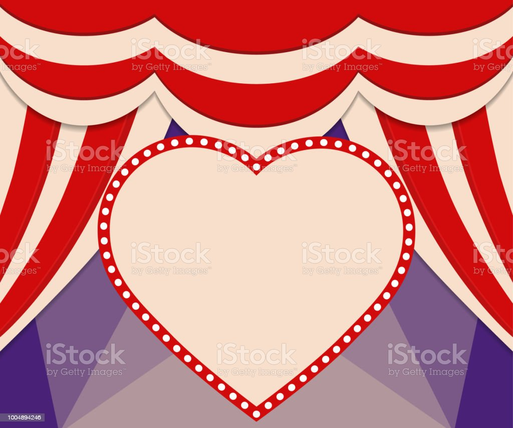 Poster Template With Retro Heart Circus Banner Design For Presentation Concert Show Royalty