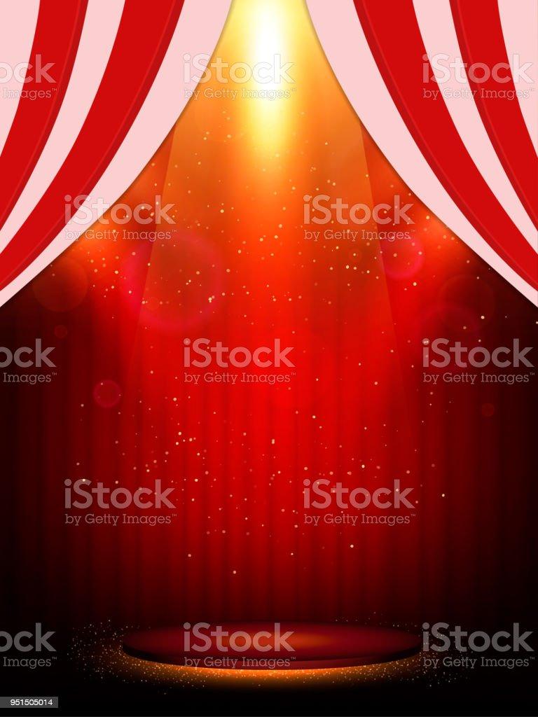 Poster Template with scene and spotlights. Design for presentation, banner, concert, show - Векторная графика Абстрактный роялти-фри