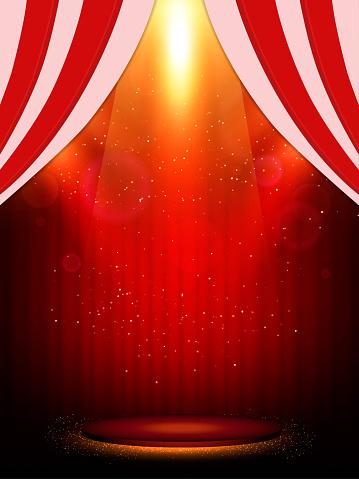 Poster Template With Scene And Spotlights Design For Presentation Banner Concert Show — стоковая векторная графика и другие изображения на тему Абстрактный