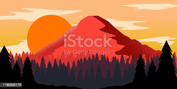 Poster template with wild mountains landscape. Design element for banner, flyer, card. Vector illustration