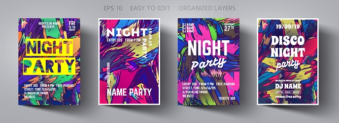 Poster template.Vector Creative Modern Abstract Background with Trending Colors.Template Design for Flyer,Banner,Cover,Brochure.Design Invitation Card for Music Concert, Event,Night party,Disco Club.