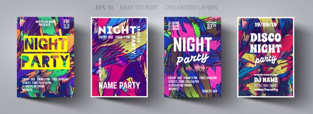 Poster template.Vector Creative Modern Abstract Background with Trending Colors.Template Design for Flyer,Banner,Cover,Brochure.Design Invitation Card for Music Concert, Event,Night party,Disco Club. Poster template.Vector Creative Modern Abstract Background with Trending Colors.Template Design for Flyer,Banner,Cover,Brochure.Design Invitation Card for Music Concert, Event,Night party,Disco Club. electro music stock illustrations