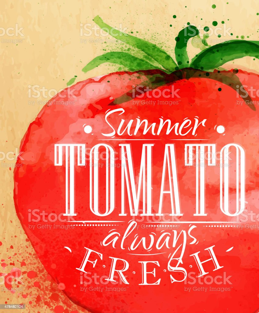 Poster tomato vector art illustration