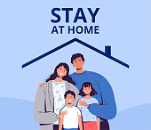 Poster urging you to stay home to protect yourself from the new COVID-2019 coronavirus. A family with children is sitting in quarantine at home. Flat vector illustration