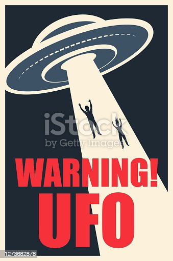 A man and a woman floating in the ray of light into the flying saucer. UFO warning.