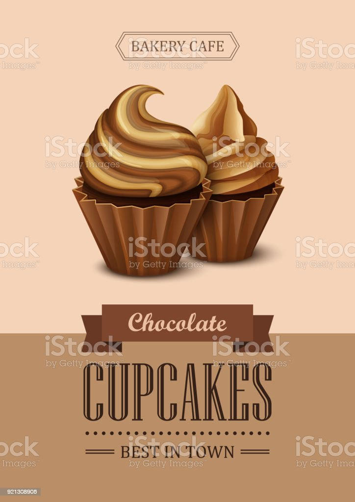 Poster Vector Template With Chocolate Cupcakes Stock