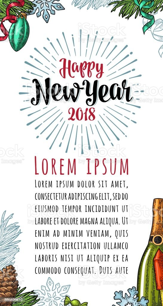 Poster Vertical Happy New Year 2018 Calligraphy Lettering With ...