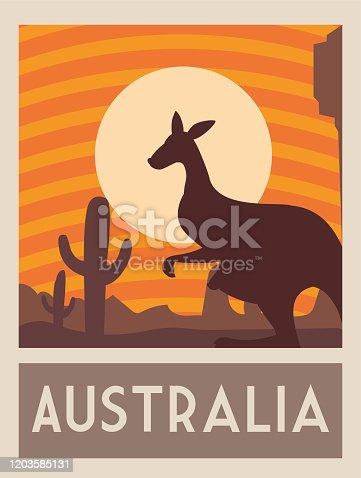istock poster with a kangaroo, postage, stamp, sticker, banner, australia 1203585131