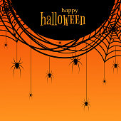 A poster with a spider web and spiders The text of Happy Halloween for invitations to a holiday and a party October 31 Congratulation to Halloween Banner for sales and discounts Design Header Vector