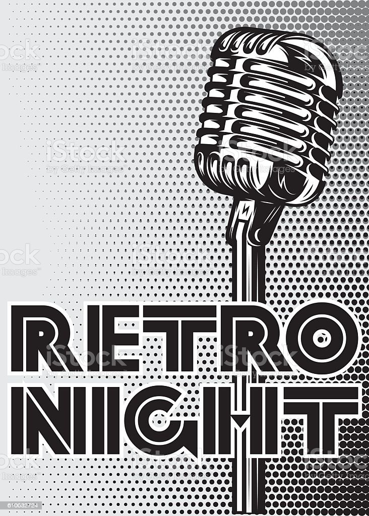 poster with a vintage microphone on gray background for advertising - Illustration vectorielle