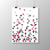 Realistic poster in vertical position and with an abstract geometric background, isolated on white background. Modern background with gray and red triangles. Template for your design. With space for your text and your background. The layers are named to facilitate your customization. Vector Illustration (EPS10, well layered and grouped). Easy to edit, manipulate, resize or colorize. Please do not hesitate to contact me if you have any questions, or need to customise the illustration. http://www.istockphoto.com/portfolio/bgblue