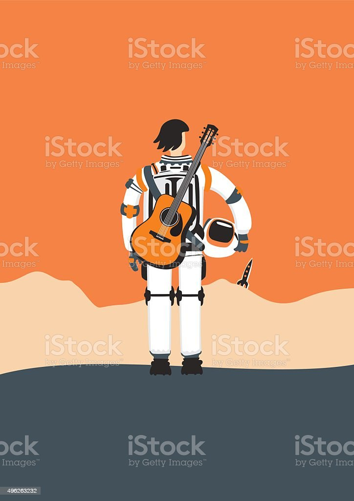 Poster with an astronaut vector art illustration