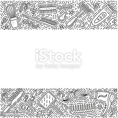 istock Poster with barber shop doodle icons. 1283191509