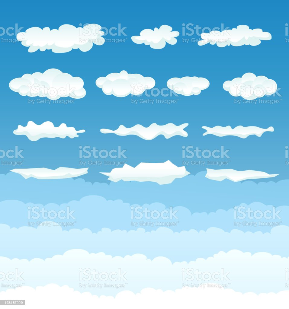 A poster with blue sky and white clouds vector art illustration