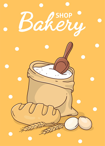 Poster with bread and ingredients for a bakery.