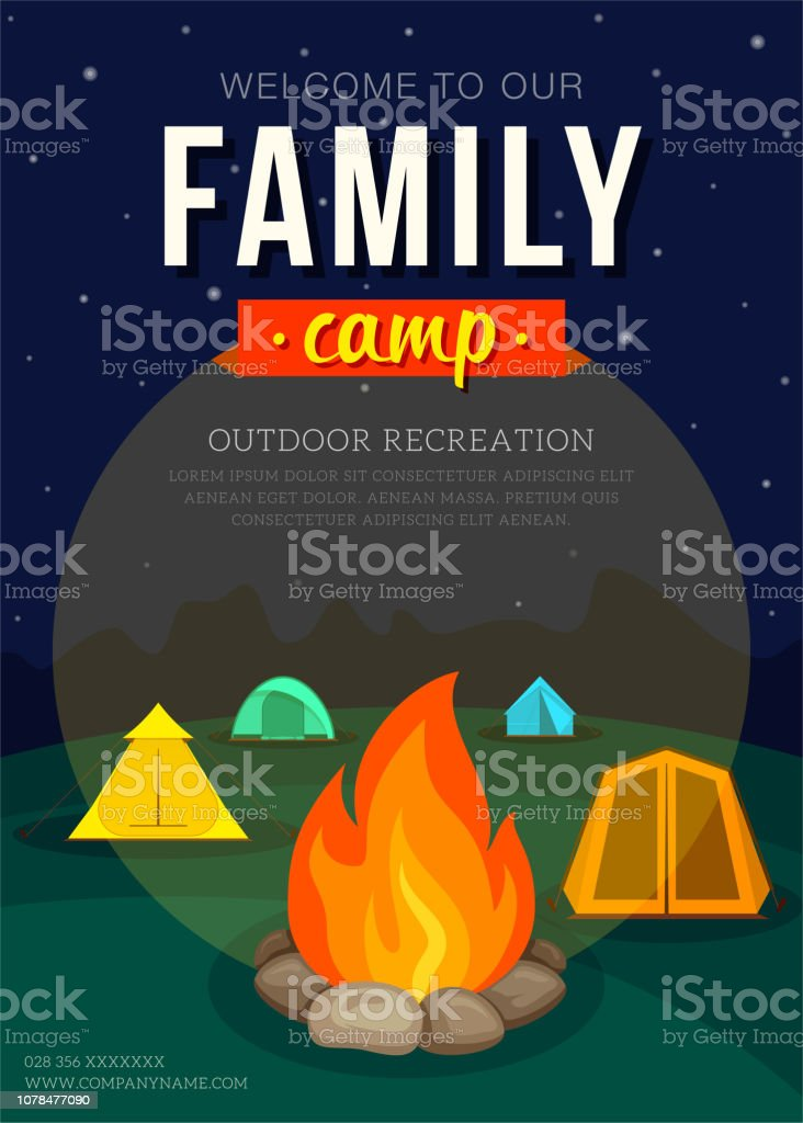 Poster with camping tent and campfire for family adventure camping....