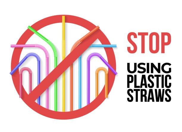 illustrazioni stock, clip art, cartoni animati e icone di tendenza di poster with colorful plastic drinking straws - cannuccia