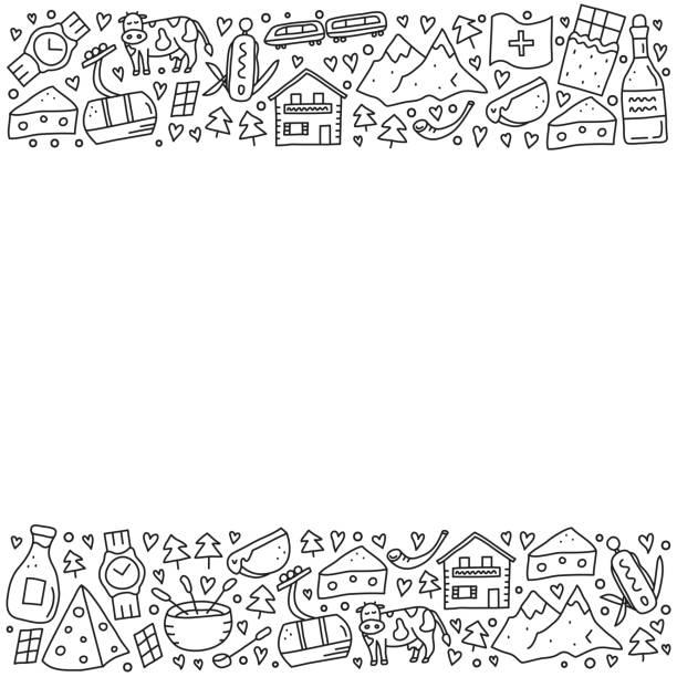 poster mit doodle schweiz reise-icons und text. - raclette stock-grafiken, -clipart, -cartoons und -symbole