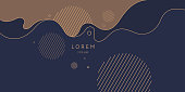 Poster with dynamic waves. Vector illustration in minimal flat style. Abstract background.