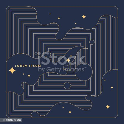 istock Poster with dynamic waves. Vector illustration in minimal style. Abstract background. 1269873230