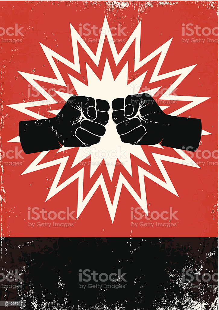 poster with fists vector art illustration