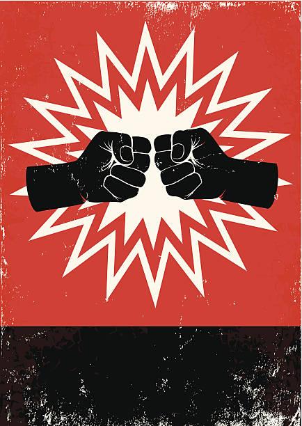 ilustraciones, imágenes clip art, dibujos animados e iconos de stock de cartel con fists - lucha