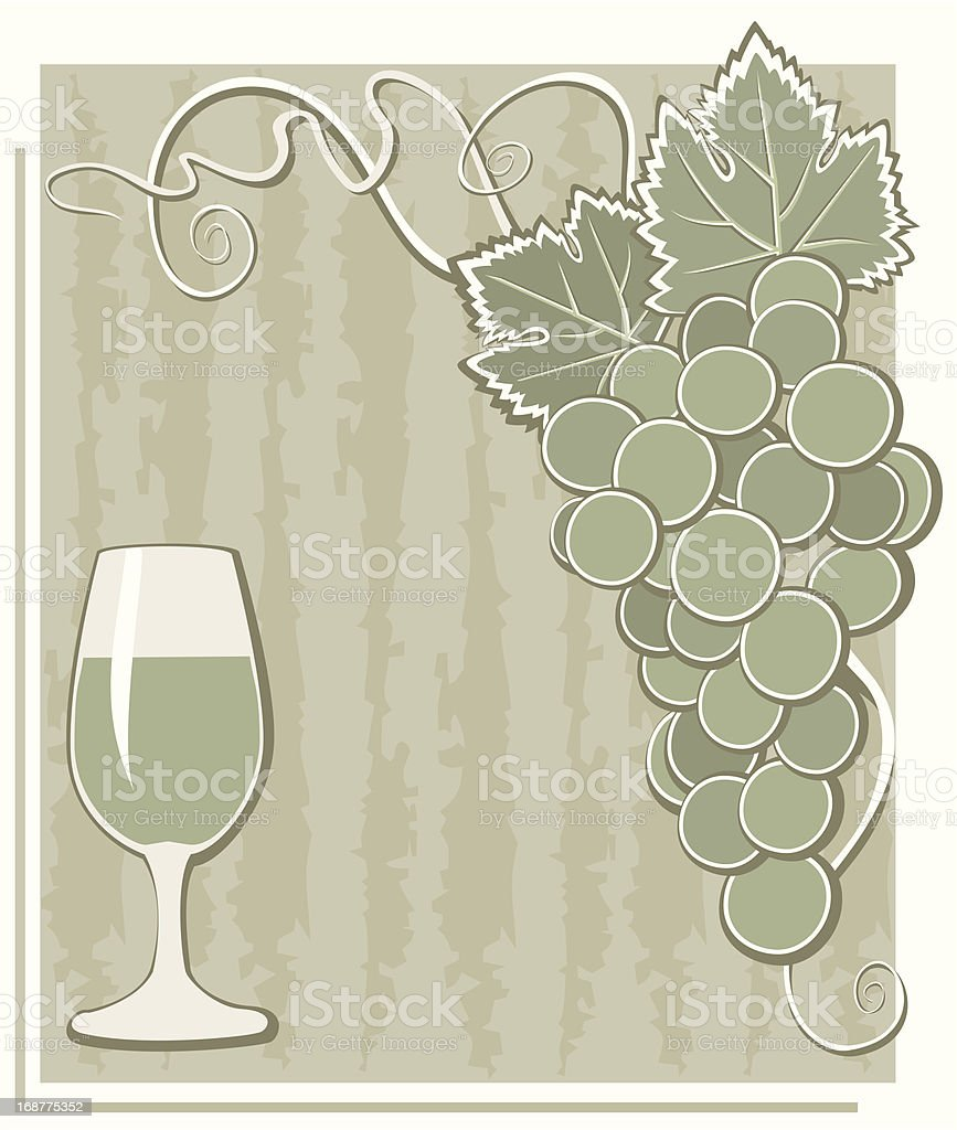 Poster with grape and glass royalty-free stock vector art