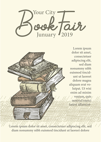 Poster with hand drawing sketch books. Concept vintage design for fair or festival flyer, paper, banner, school library retro poster, bookshop advertising in engraving style