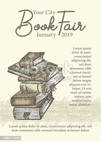 Poster with hand drawing sketch books. Concept vintage design for fair or festival flyer, paper, banner, school library retro poster, bookshop advertising in engraving style Vector illustration