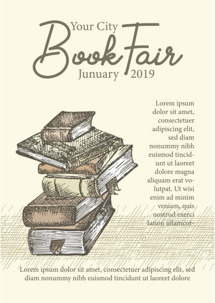 Poster with hand drawing sketch books. Concept vintage design for fair or festival flyer, paper, banner, school library retro poster, bookshop advertising in engraving style vector art illustration
