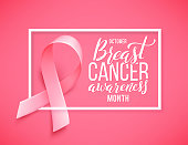 Poster with handdrawn lettering breast cancer. Realistic pink ribbon.