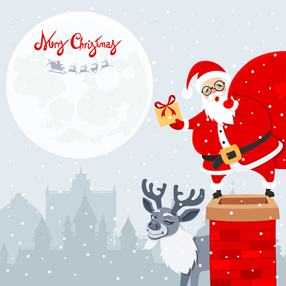 Poster with happy Santa Claus and Reindeer.