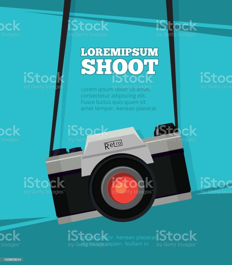 Poster met illustratie van retro fotocamera. Ontwerpsjabloon met plaats voor uw tekst - Royalty-free Apparatuur vectorkunst