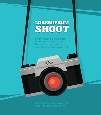 Poster with illustration of retro photo camera. Design template with place for your text