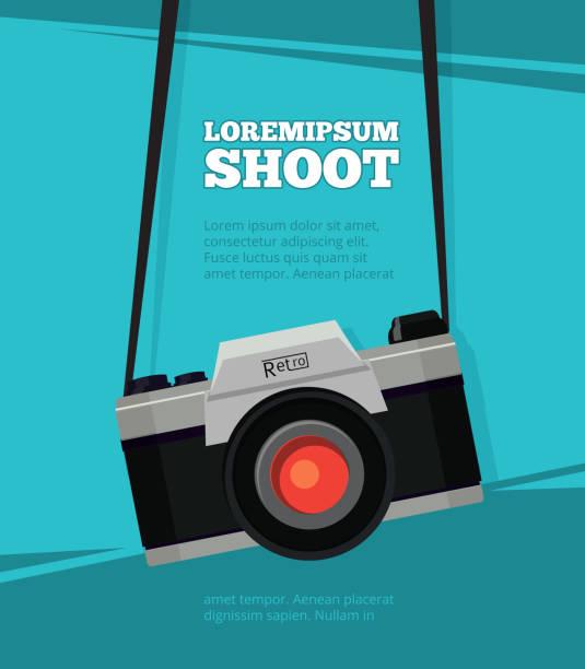 plakat mit abbildung des retro-foto-kamera. design-vorlage mit platz für ihren text - fotografische themen stock-grafiken, -clipart, -cartoons und -symbole