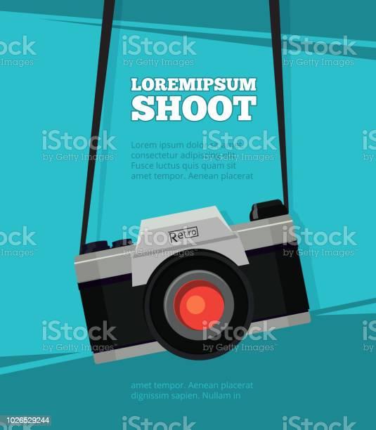 Poster Met Illustratie Van Retro Fotocamera Ontwerpsjabloon Met Plaats Voor Uw Tekst Stockvectorkunst en meer beelden van Apparatuur