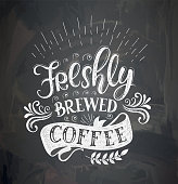 Poster with inscription about coffee drinks. Vector illustration.