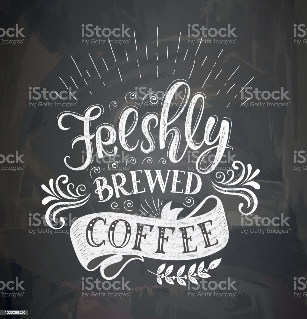 Poster with inscription about coffee drinks. Vector illustration. vector art illustration