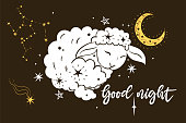 Poster with lamb, stars and the inscription Good night. Vector image.
