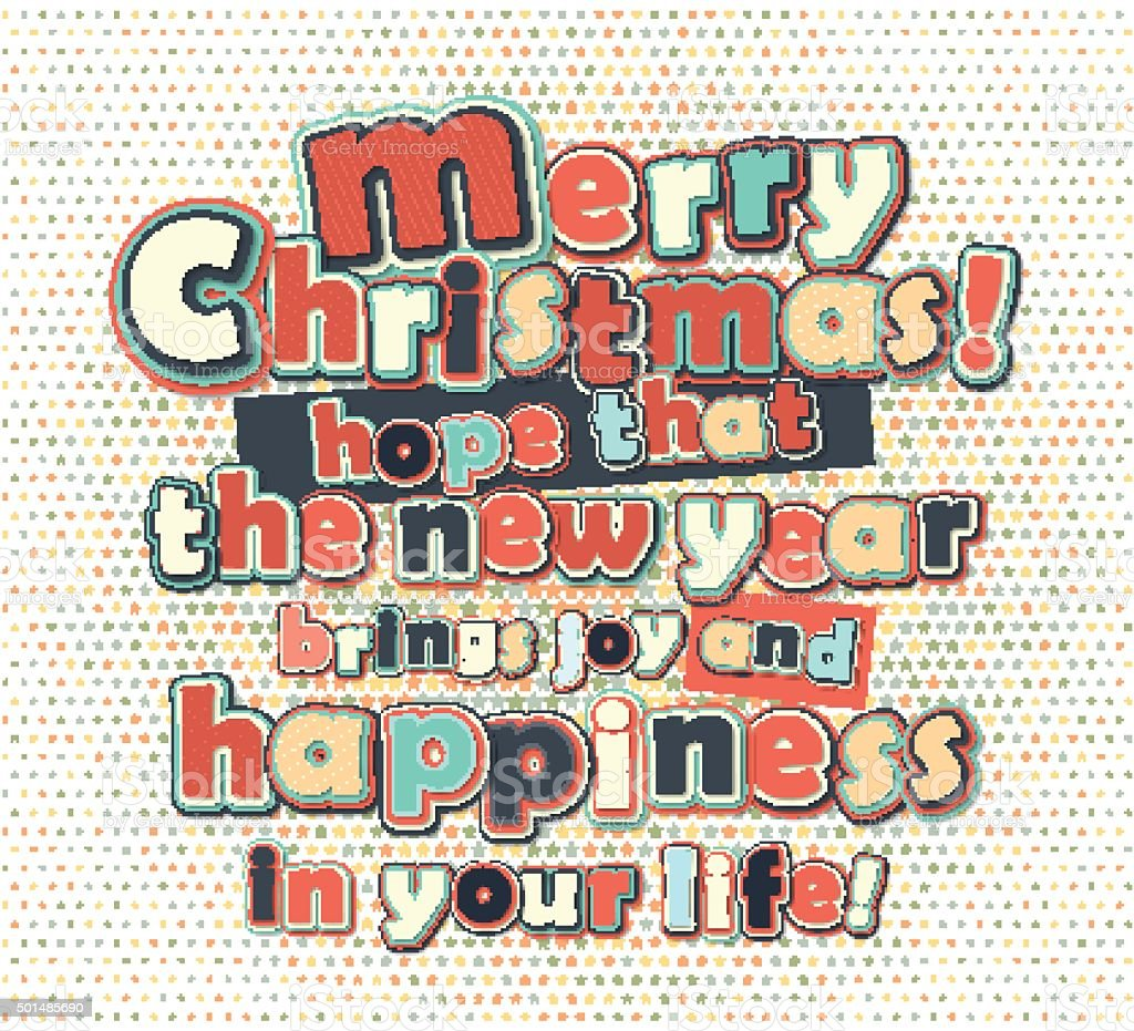 Poster With Lettering Greetings Merry Christmas Happy New Year Stock