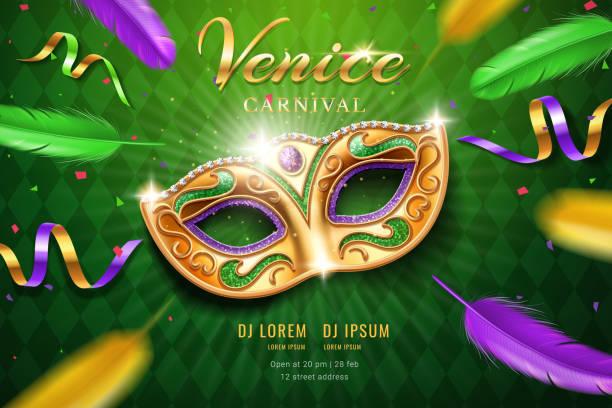 illustrazioni stock, clip art, cartoni animati e icone di tendenza di poster with masquerade mask for mardi gras - piume colorate