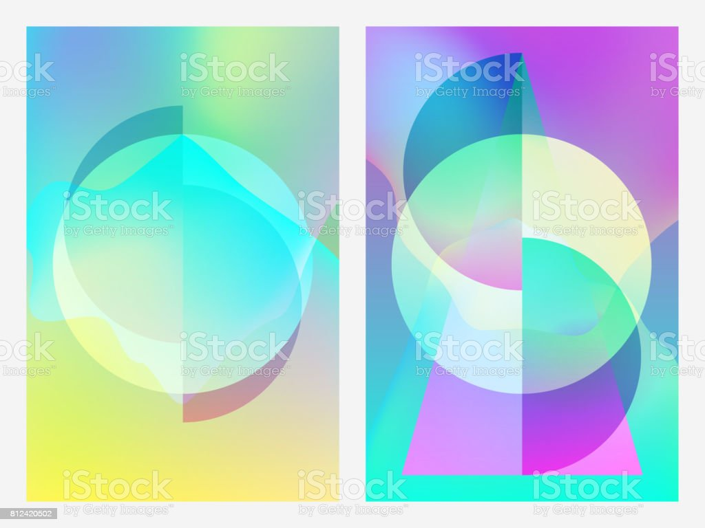 Poster with neon flat geometric pattern. Holographic colorful graphic backgrounds. Retro banner, flyer, leaflet, poster. Vector template vector art illustration