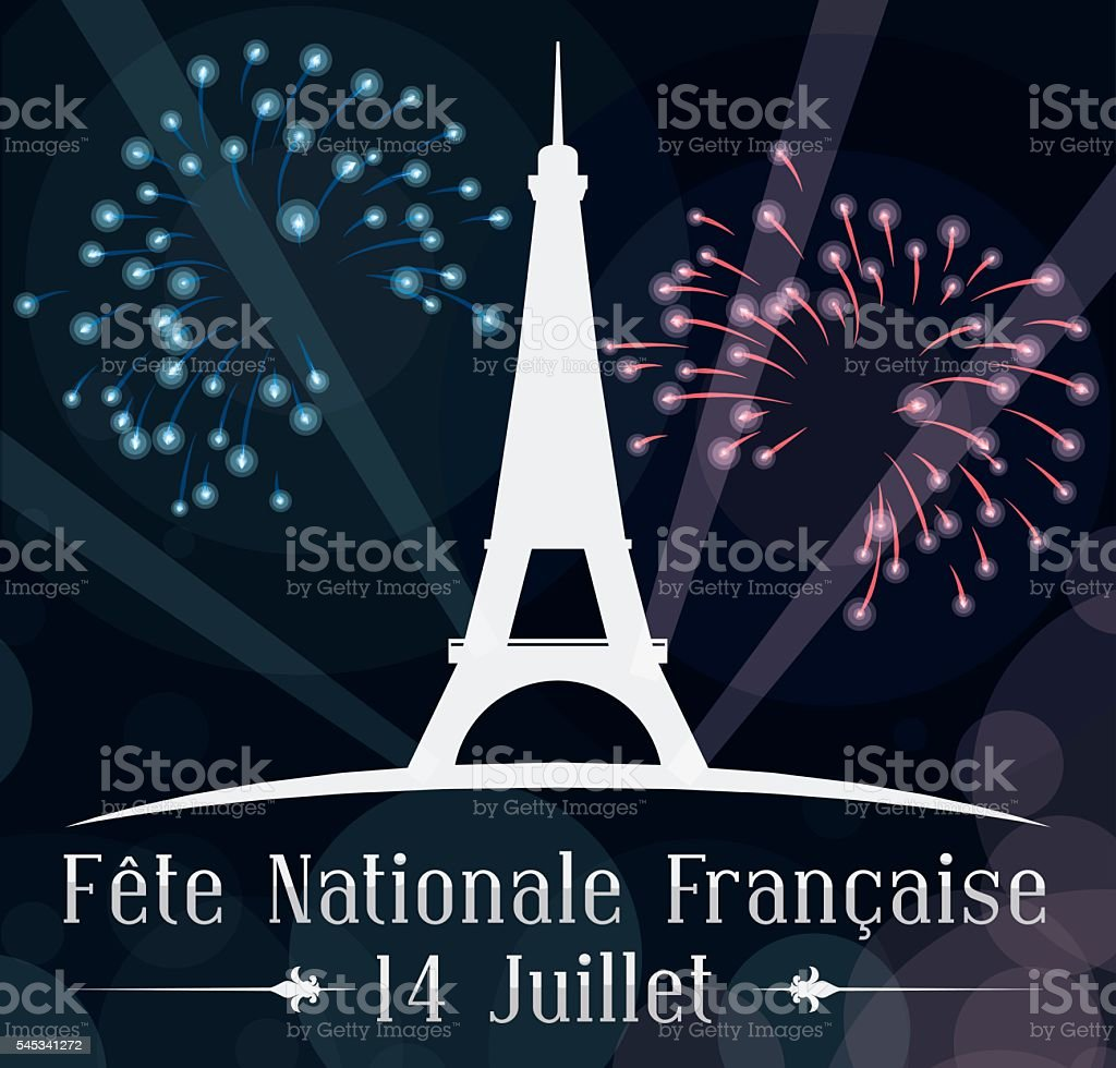 Poster with Night Celebration of Independence Day in France vector art illustration
