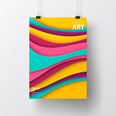 Realistic poster in vertical position with an modern and trendy background (Abstract design with wave shapes in a paper cut style - purple, pink, blue, green, turquoise, yellow, orange), isolated on white wall. Template for your design. With space for your text and your background. The layers are named to facilitate your customization. Vector Illustration (EPS10, well layered and grouped). Easy to edit, manipulate, resize or colorize. Please do not hesitate to contact me if you have any questions, or need to customise the illustration. http://www.istockphoto.com/portfolio/bgblue