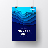 Realistic poster in vertical position with an modern and trendy background (Abstract design with wave shapes in a paper cut style - blue), isolated on white wall. Template for your design. With space for your text and your background. The layers are named to facilitate your customization. Vector Illustration (EPS10, well layered and grouped). Easy to edit, manipulate, resize or colorize. Please do not hesitate to contact me if you have any questions, or need to customise the illustration. http://www.istockphoto.com/portfolio/bgblue