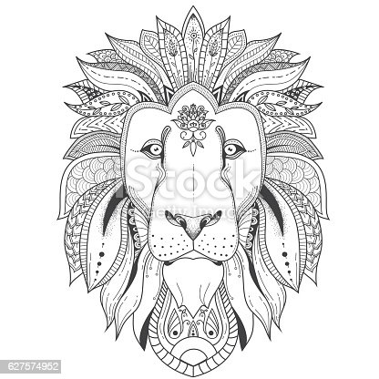 Vector illustration of lion with tribal mandala patterns. Use for print, t-shirts.