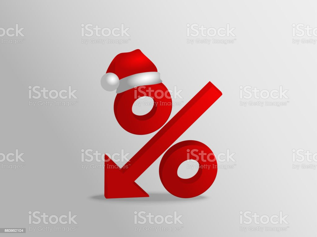 Poster With Percent Discount Sign With Red Santa Hat Christmas And ...