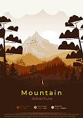 Flat minimal mountains poster with pine forest and summer camp