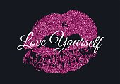 Poster with pink glitter lips mark on black background.